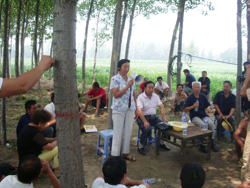总经理王桂凤在原阳县地头为稻农讲解水稻病虫害防治及管理